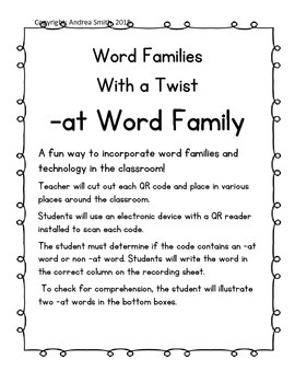 -at Word Family QR Code Write the Room