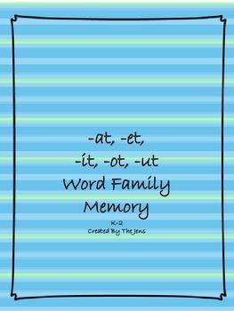 -at, -et, -it, -ot, -ut Word Families Memory K-2 (***BONUS