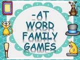 Word Family Games (-at), includes dice, game board, race b