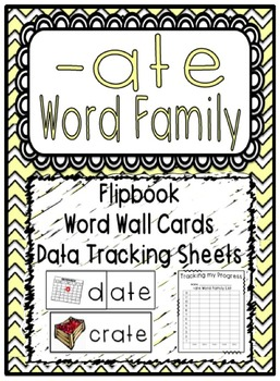 -ate Word Family Flipbook, Word Wall Cards and Data Tracki