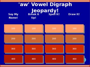 'aw' Vowel Digraph Jeopardy