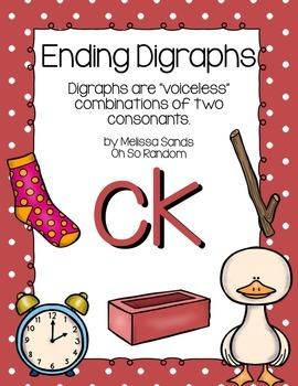 -ck Final Digraph Anchor Chart & Practice {Click File, Print}