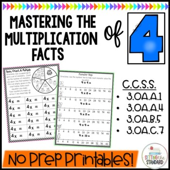 Multiplication Monsters- Practice For Facts of 4 Printables