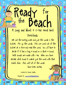 -ea Long and Short E Word Sort: Ready for the Beach