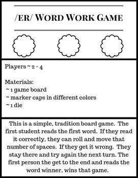 /er/ Word Work Board Game