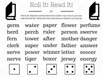 /er/ Word Work Dice Game