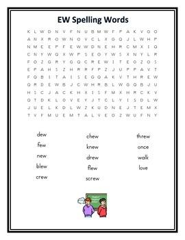 -ew Spelling Pattern Word Search