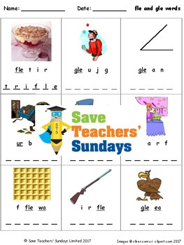 -fle and -gle words lesson plan, worksheets and other teac