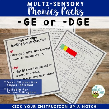 -ge/-dge Spelling Generalization Multisensory Phonics Orto