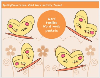 """ice"" family word work packet – 10 words, no prep spelling"