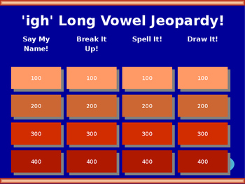 'igh' Long Vowel Jeopardy!