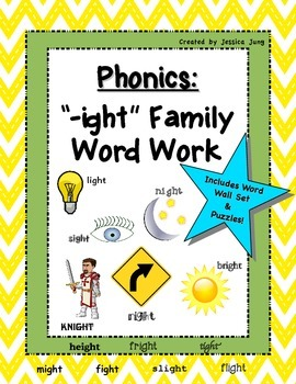 """Phonics: """"-ight"""" Family Word Work--includes word wall set!"""