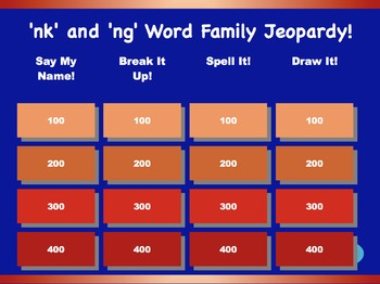 'ng' and 'nk' Word Family Jeopardy Games! {9 games}