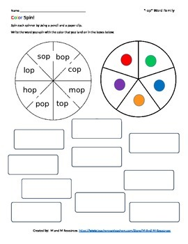 """""""op"""" Color Spin!  Short o Word Family Work"""