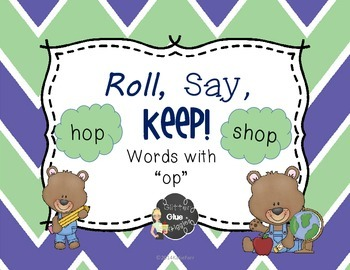 """""""-op"""" Word Family Game {Roll, Say, Keep!}"""