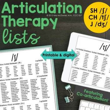 /ʃ/, /tʃ/, & /dʒ/ Sound Targets for Articulation Therapy {