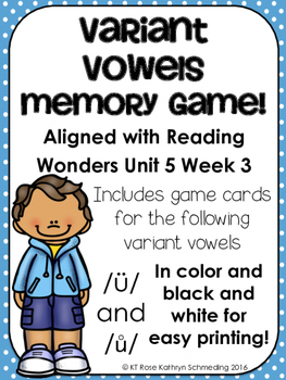 /ü/ and /ů/ Sound Memory Game---Aligned with Reading Wonde