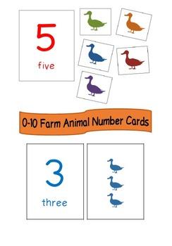 0-10 Farm Animal Number Cards