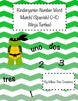 0-10 Word-Number Match Ninja Turtle Themed! (Spanish Version)