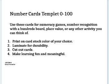 0-100 Number Cards