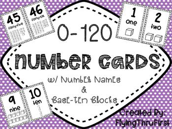 0-120 Number Cards {w/Base 10 Blocks}