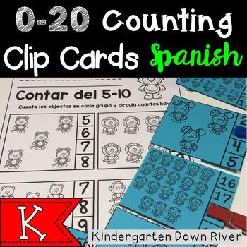 0-20 Counting Clip Cards & Printables {Spanish} Representa