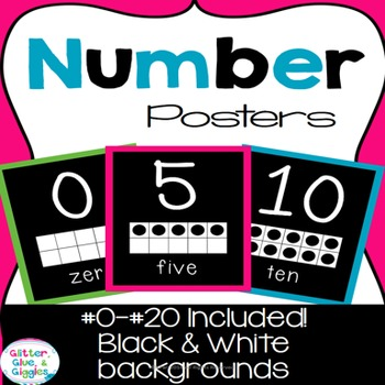 0-20 Number Posters {Bright & Bold}