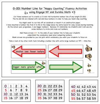 """0-201 Number Line for """"Happy Counting"""" Fluency Using Engag"""