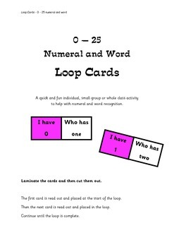 0 - 25 Numeral and Word Loop Cards