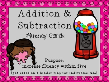 Sticky Fluency Cards [Addition and Subtraction Within Five