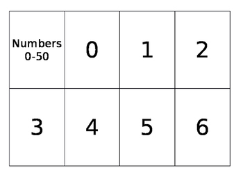 0-50 Number Flash Cards