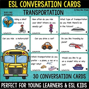 "ESL Conversation Cards ""All About Transportaion"""