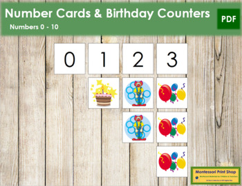 0 to 10 Number Cards and Counters - Birthday
