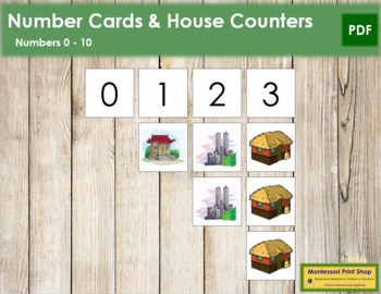 0 to 10 Number Cards and Counters - Homes