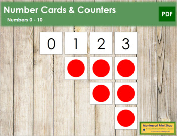 0 to 10 Number Cards and Counters - Red Circles