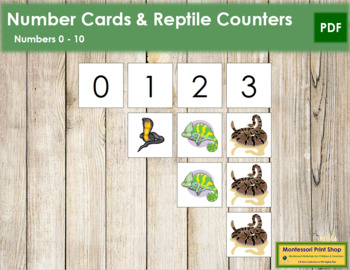 0 to 10 Number Cards and Counters - Reptiles