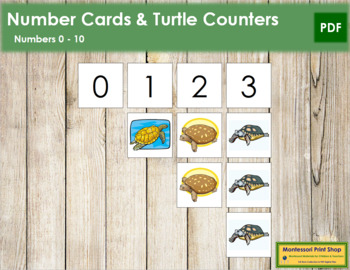 0 to 10 Number Cards and Counters - Turtles