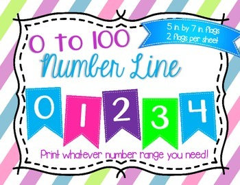 0 to 100 Number Line Stitched Flags Bulletin Board Set