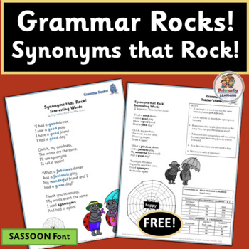 FREE! Grammar Rocks! Synonym Song with chart, lesson ideas