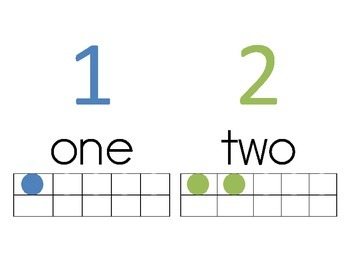 1-10 Labels with Ten Frame, Number and Word Freebie