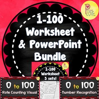 Numbers 1-100 worksheet and powerpoint bundle