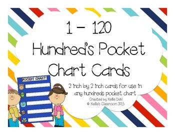 1 - 120 Hundred Pocket Chart Cards