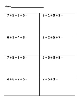 1,2,3 Digit Number String Worksheets (Low, Medium, High)