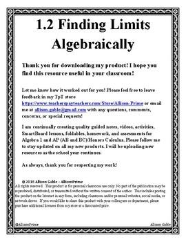 1.2 Finding Limits Algebraically