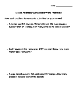 1 & 2 Step Word Problem Activities and Assessment