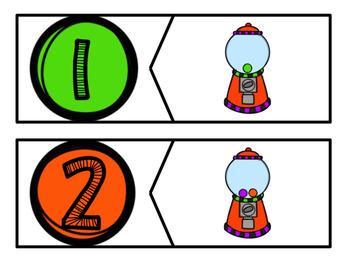 1-20 Gum Ball Number Corresponding
