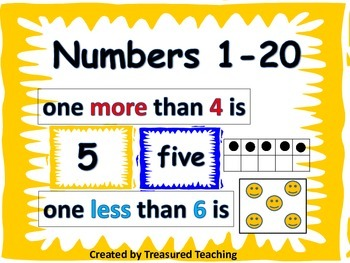 1-20 Numbers More or Less Hands On Math Center Activity
