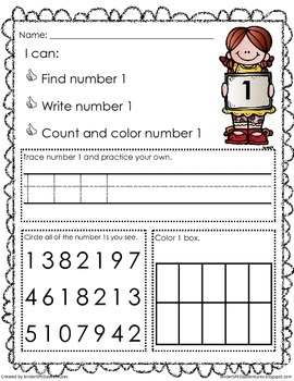 1-9 Number Recognition Worksheets- Common Core Aligned