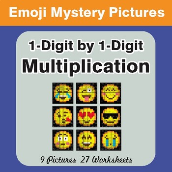 1-Digit Multiplication Color-By-Number EMOJI Mystery Pictures