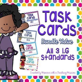 1.G Task Cards Geometry BUNDLE VALUE